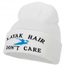 Kayak Hair Don't Care Embroidered 12 Inch Long Knitted Beanie