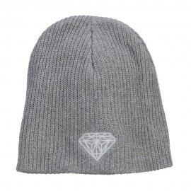 XL Size White Diamond Eco Cotton Ribbed Beanie