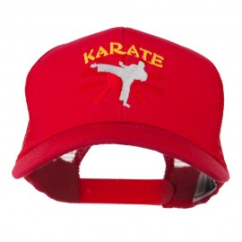 Kicking Karate Man Embroidered Trucker Cap