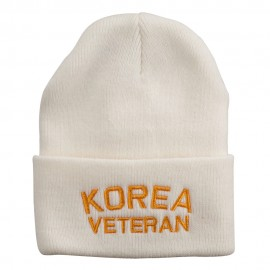 Korea Veteran Embroidered Long Knitted Beanie