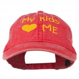My Kids Love Me Embroidered Washed Cotton Cap