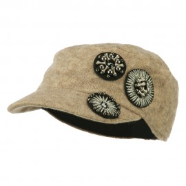 Knit Military Cap with Circle Motifs
