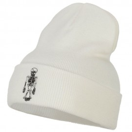 Skeleton Outline Embroidered Long Beanie