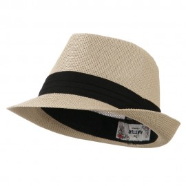 Kid's Paper Straw Black Band Fedora - Tan