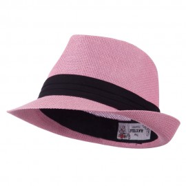 Kid's Paper Straw Black Band Fedora