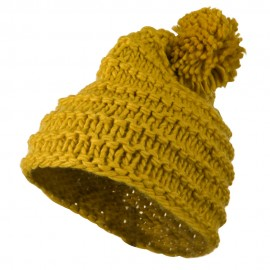 Knit Short Beanie Hat with Pom Pom