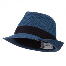 Kid's Paper Straw Black Band Fedora - Navy