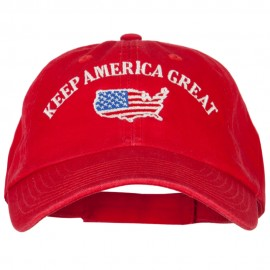 Keep America Great USA Flag Map Embroidered Low Profile Washed Cap