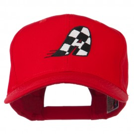 Checkered Flag Alphabet Embroidered Red High Profile Cap