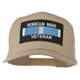 Korean War Veteran Patched Mesh Cap - Khaki