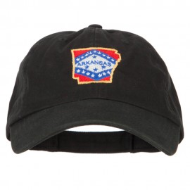Arkansas State Map Flag Embroidered Low Profile Cotton Cap