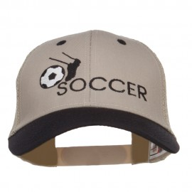 Kicking Soccer Embroidered Two Tone Trucker Cap