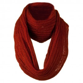 Knit Snood Solid Scarf - Rust