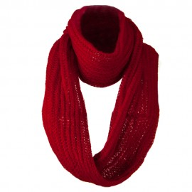 Knit Snood Solid Scarf - Red
