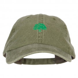 Oak Tree Embroidered Washed Buckle Cap