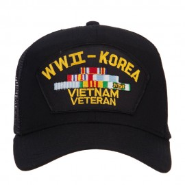 WW2 Korea Vietnam Veteran Patched Mesh Cap - Black