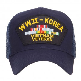 WW2 Korea Vietnam Veteran Patched Mesh Cap