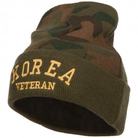 Korea Veteran Letters Embroidered Camo Long Beanie