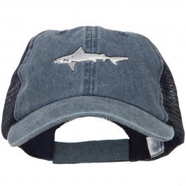 Shark Embroidered Washed Trucker Cap