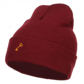 Mini Key Embroidered Long Beanie