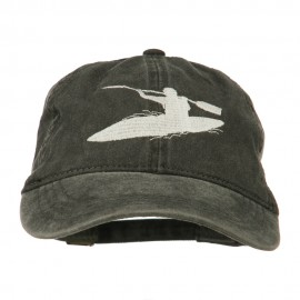 Sports Kayak Embroidered Washed Dyed Cap - Black