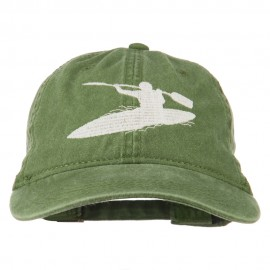 Sports Kayak Embroidered Washed Dyed Cap - Olive Green