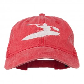 Sports Kayak Embroidered Washed Dyed Cap - Red