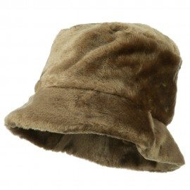 Faux Fur Large Brim Bucket Hat