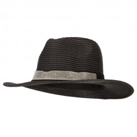 Ladies Paper Straw Rhinestone Band Panama Fedora Hat