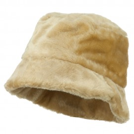 Faux Fur Large Brim Bucket Hat - Beige