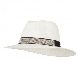 Ladies Paper Straw Rhinestone Band Panama Fedora Hat - White