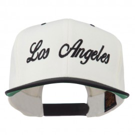 Los Angeles Embroidered Snapback Cap - Natural Black