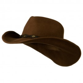 Man's Leatherette Band Outback Cowboy Hat - Pecan