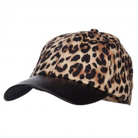 Leopard Print Cap with Leather Bill - Brown