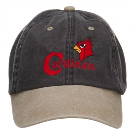 Cardinals Bird Embroidered Washed Two Tone Cap