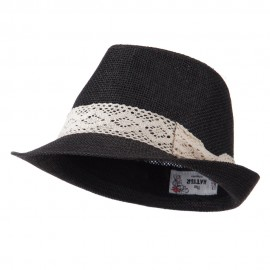 Lace Band Paper Straw Fedora - Black