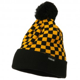 Checkered Long Cuff Pom Pom Beanie