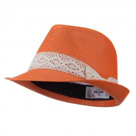 Lace Band Paper Straw Fedora - Orange