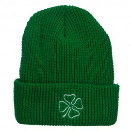 Leaf Clover Embroidered Waffle Cuff Beanie - Kelly