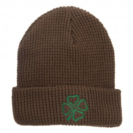 Leaf Clover Embroidered Waffle Cuff Beanie