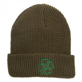 Leaf Clover Embroidered Waffle Cuff Beanie - Olive