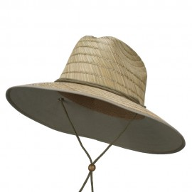 Straw Braid Lifeguard Sun Hat - Natural