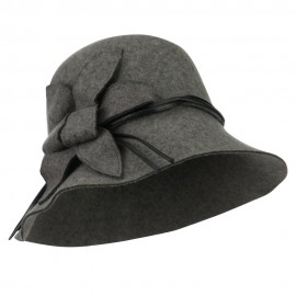 Wool Felt Cloche with Leaf