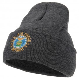 US Air Force Retired Circle Embroidered Long Beanie