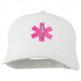 Pink Star of Life Embroidered Cotton Cap - White