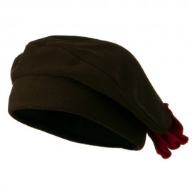 Ladies Fashionable Bow Fleece Beret - Brown