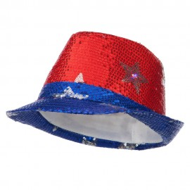 Lite Up Fedora with Silver Stars - Red
