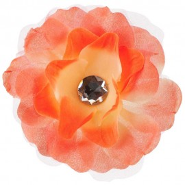 Lisianthus Flower Hair Clip with Lace - Orange