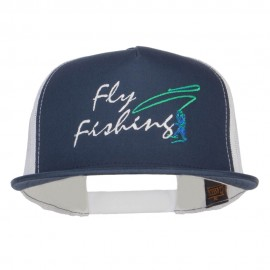 Flying Fishing Embroidered Snapback Mesh Cap