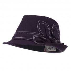 Ladies Fedora with Ribbon and Stitching